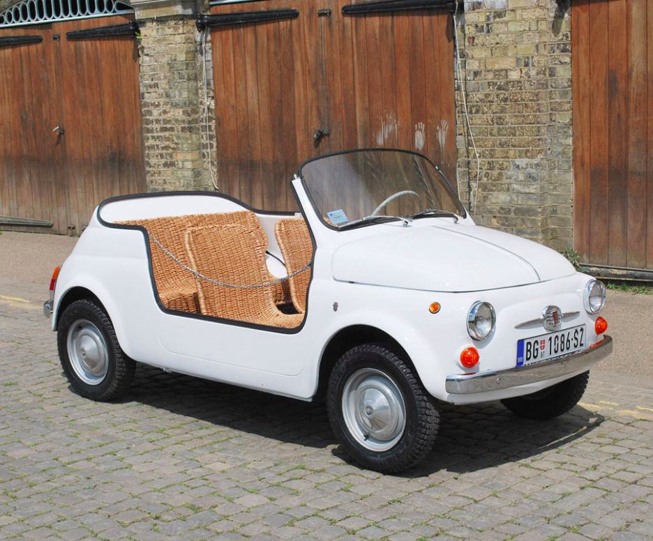 White Fiat Jolly Convertible Wicker Seats