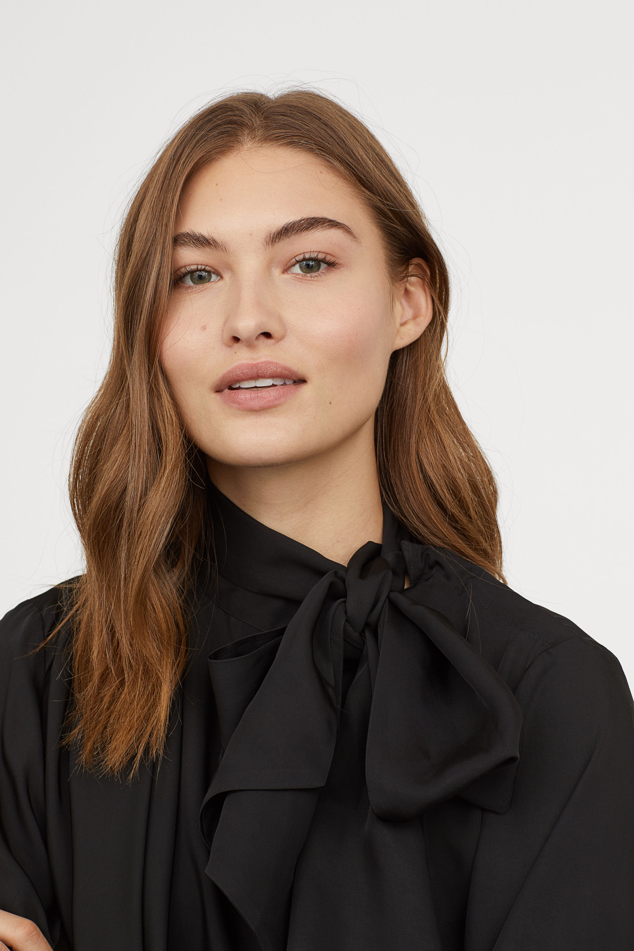 b35ff6d733c black-pussy-bow-blouse-tie-neck-top - Katie Considers