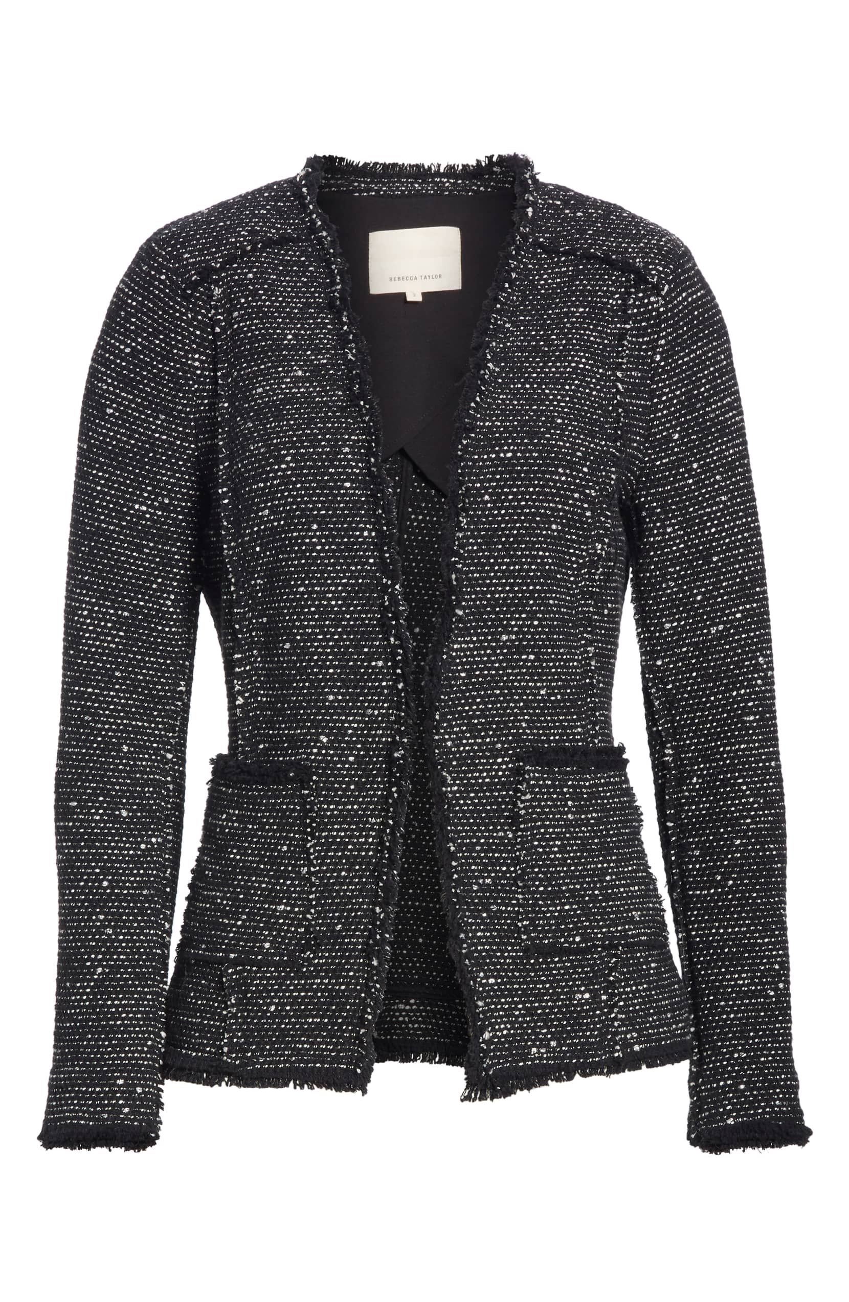 Black Sparkle Stretch Tweed Jacket Rebecca Taylor