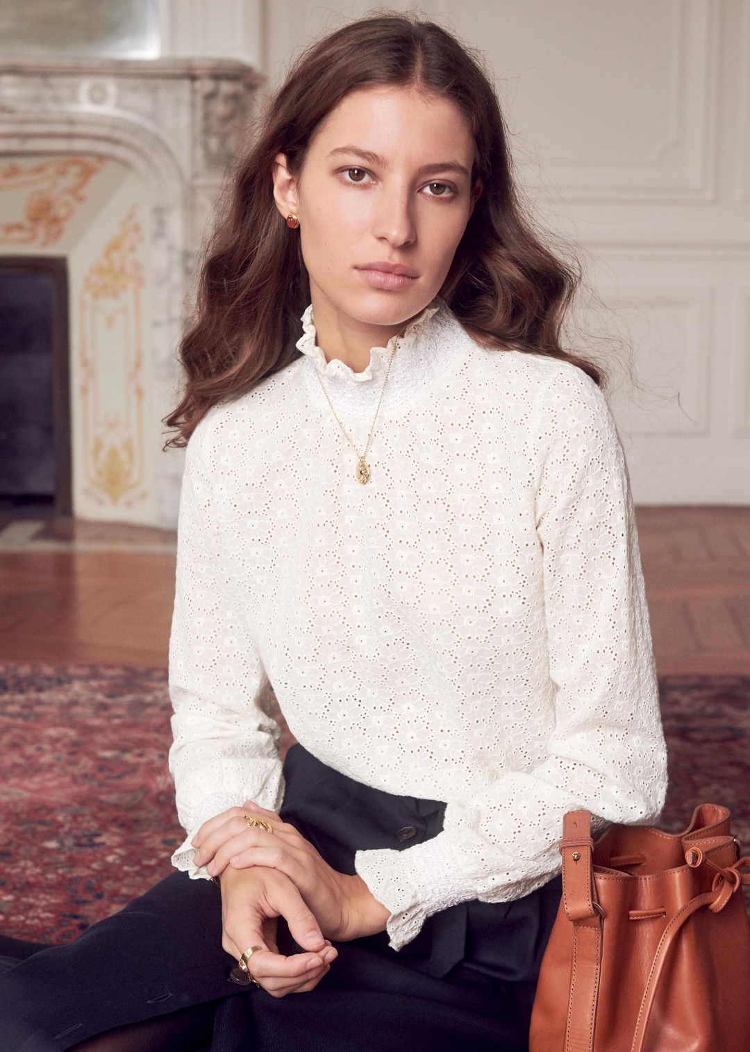 Eyelet Ruffle Neck Blouse