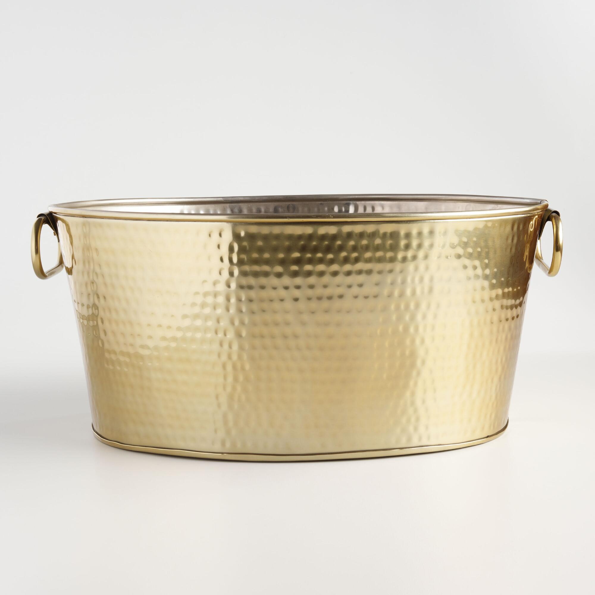 Hammered Gold Stainless Steel Beverage Tub