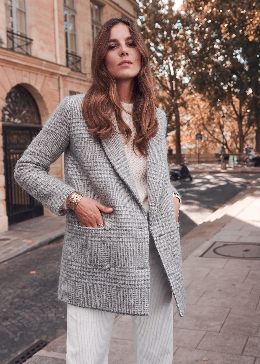 Grey Wool Prince of Wales Tailored Coat Sezane
