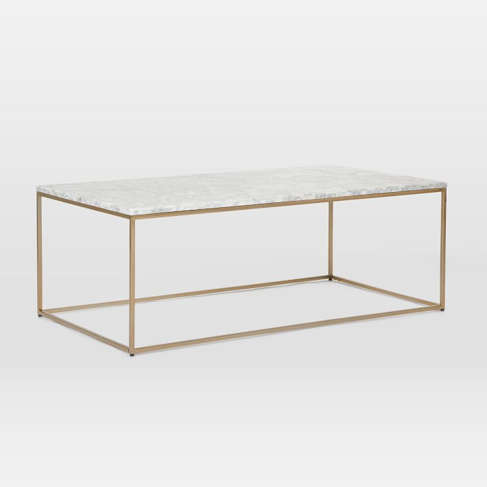 Marbletopcoffeetablebrassbronzewestelmminimalistrectangle - West elm marble top coffee table