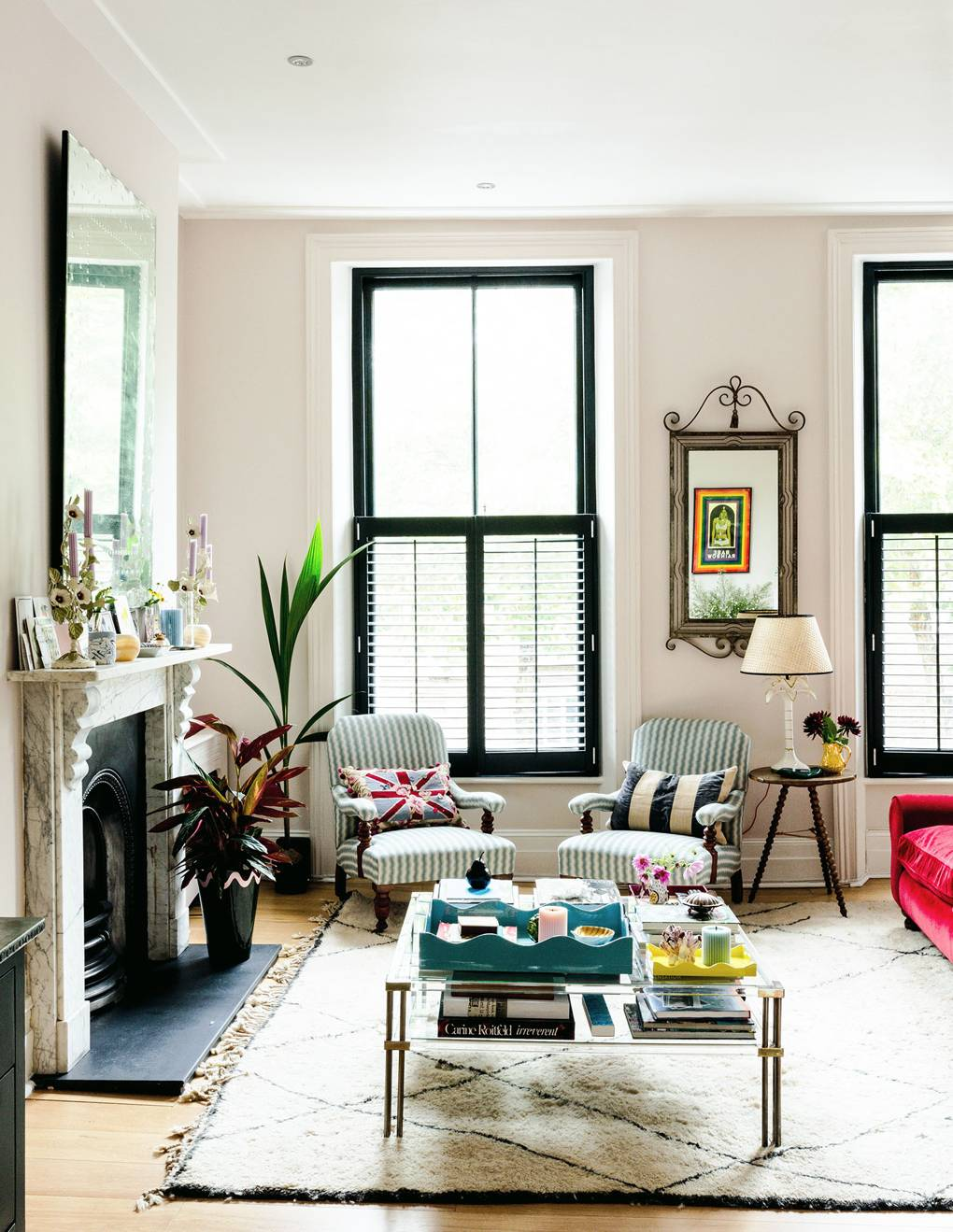 Matilda Goad's Notting Hill Living Room with Beni Ourain Rug and Marble Fireplace