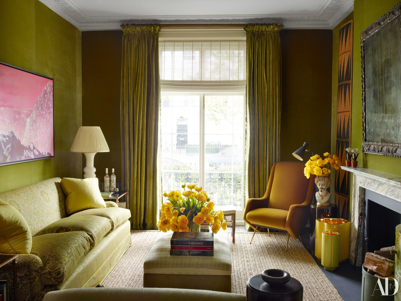 Nina Flohr's London Living Room Decorated by Veere Grenney, Fortuny Fabric sofa, green velvet upholstered walls and curtains