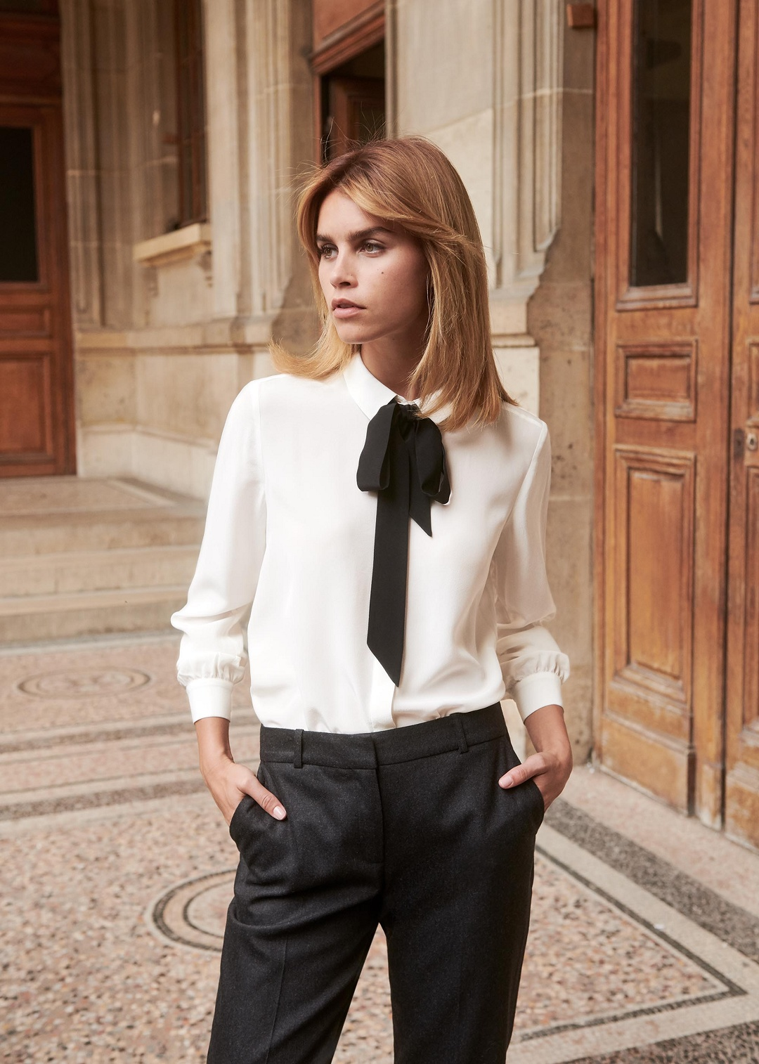 0d8a62afceb white-pussy-bow-blouse-black-tie-sezane-lady - Katie Considers