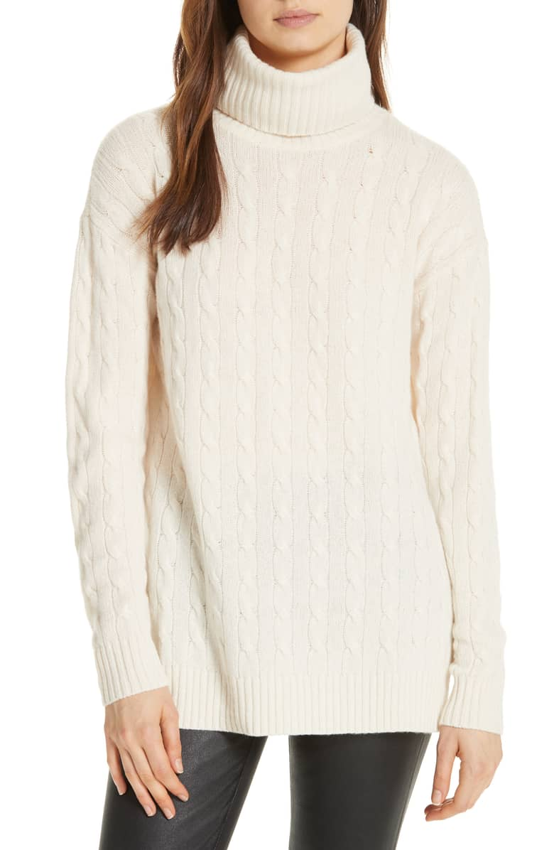 White Side Slit Cable Knit Turtleneck Sweater