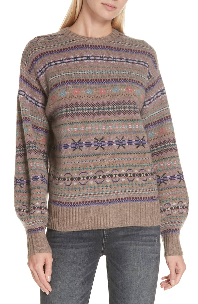 Fair Isle Sweater Wool Cashmere Mohair Blend