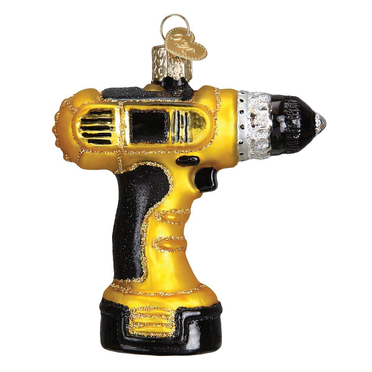 Power Drill Glass Ornament
