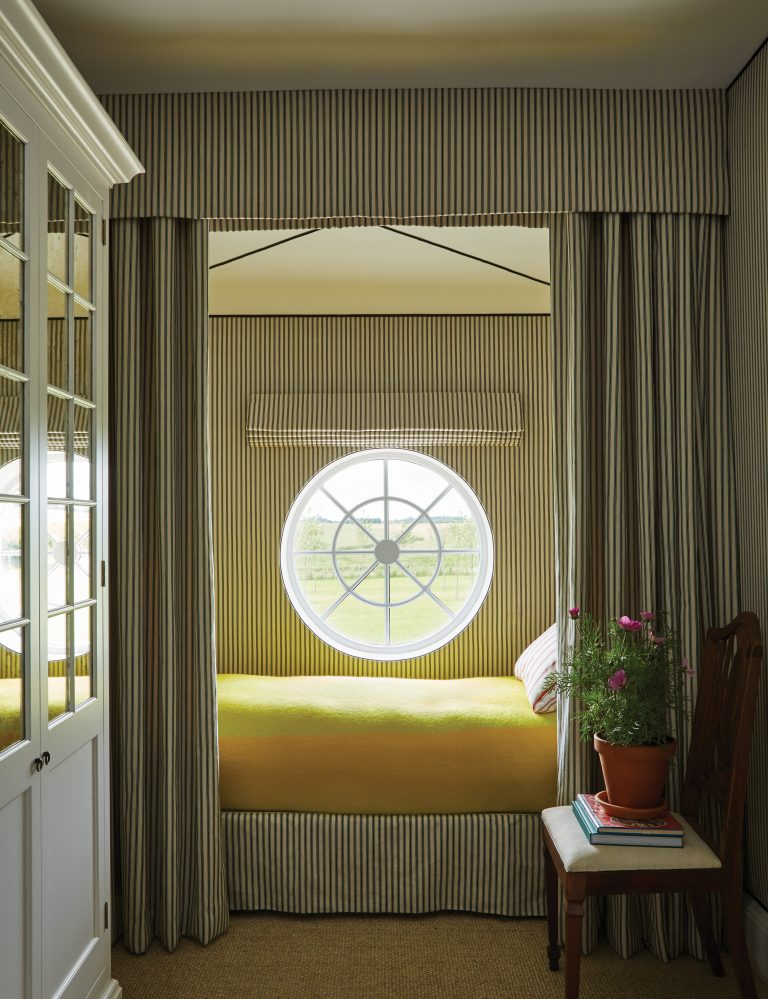 A Slice of England India Hicks Striped Bedroom