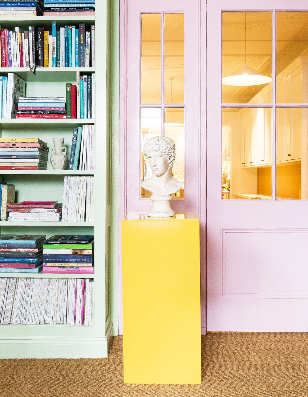 Anna Spiro Interior Design Office Worke Inspiration Brisbane Australia Pink Walls Green Bookcases Greek Bust Statue Yellow Pedestal Wall To Sisal