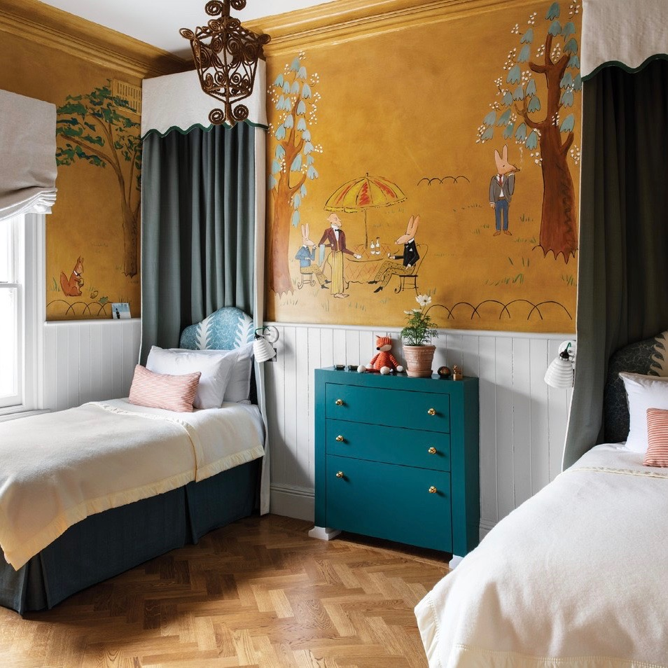 Ludwig Bemelmans inspired mural in a children's room designed by Swedish interior designer Beata Heuman.