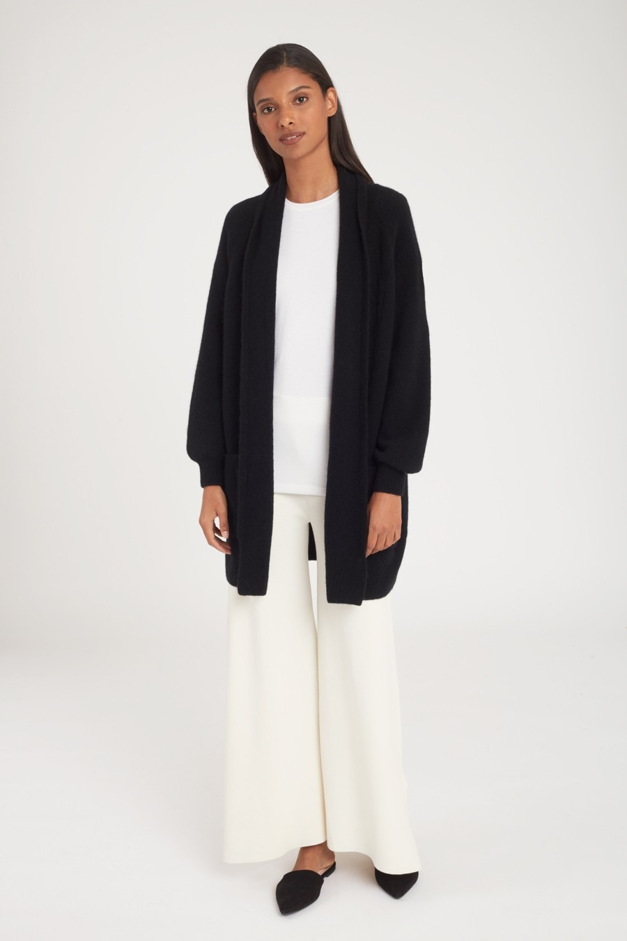 Long Black Wool Cardigan