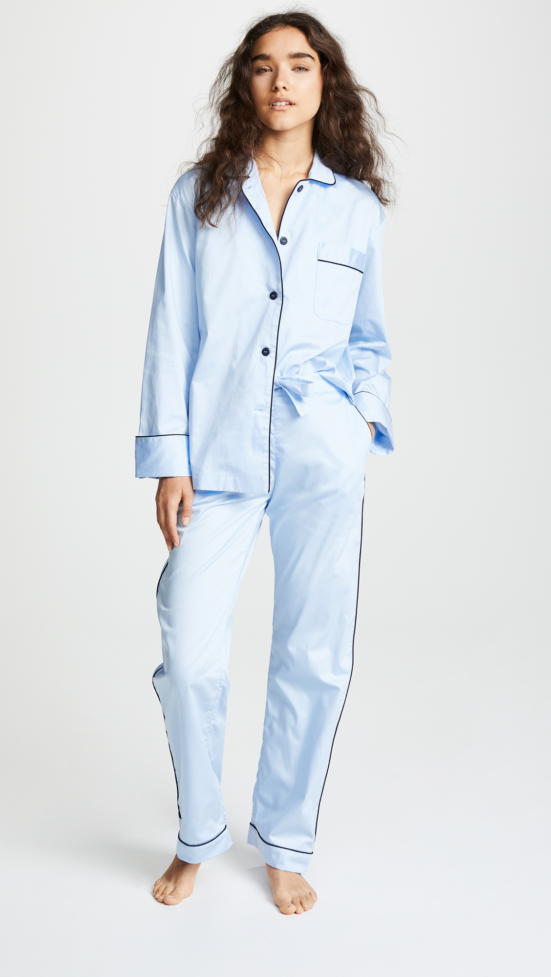 Blue Sateen Pajama Set