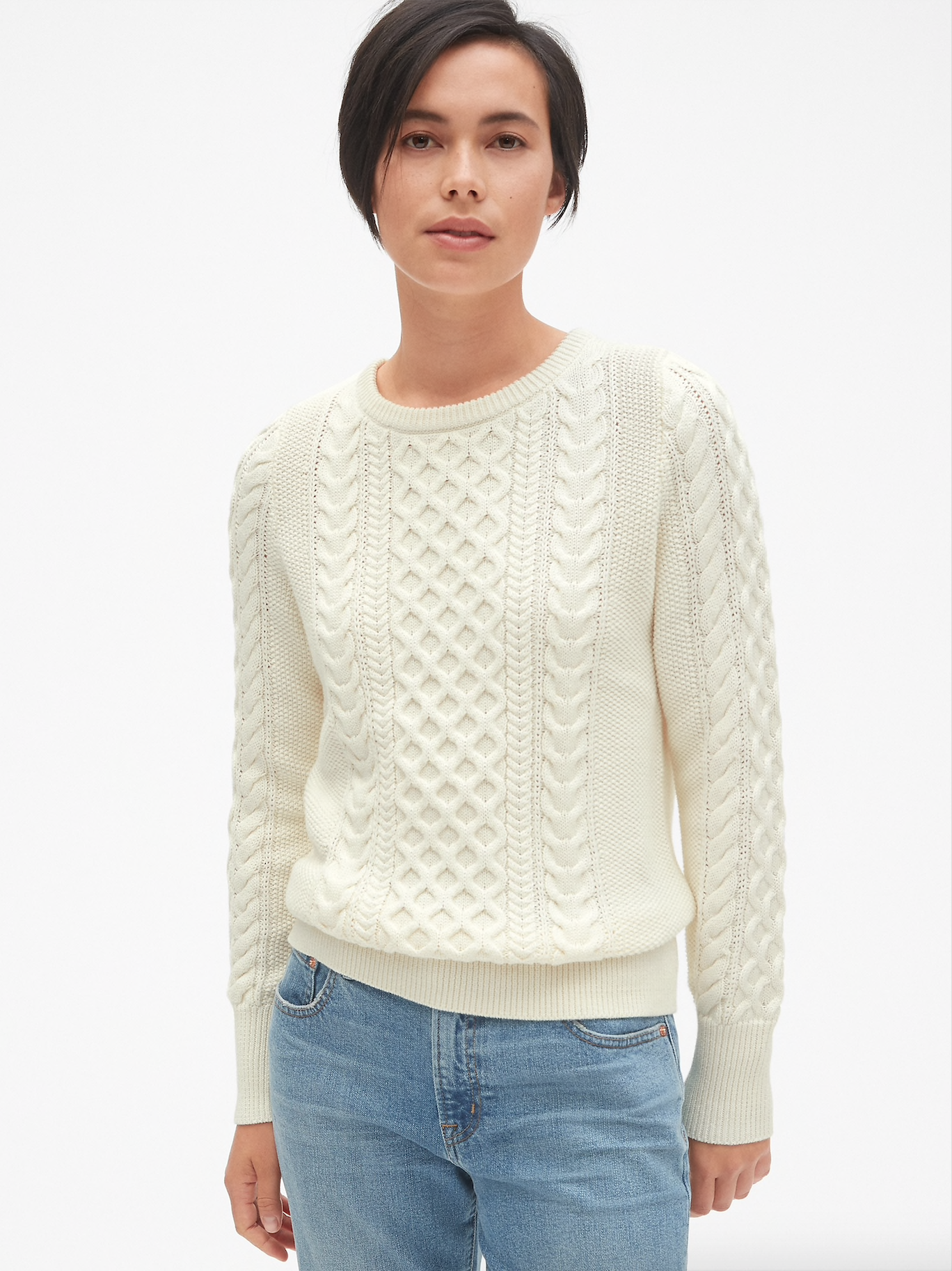 White Cable Knit Grew Neck