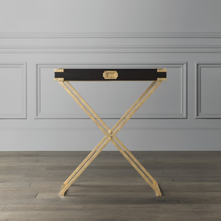 Campaign Butler Stand Tray Table Brass Black