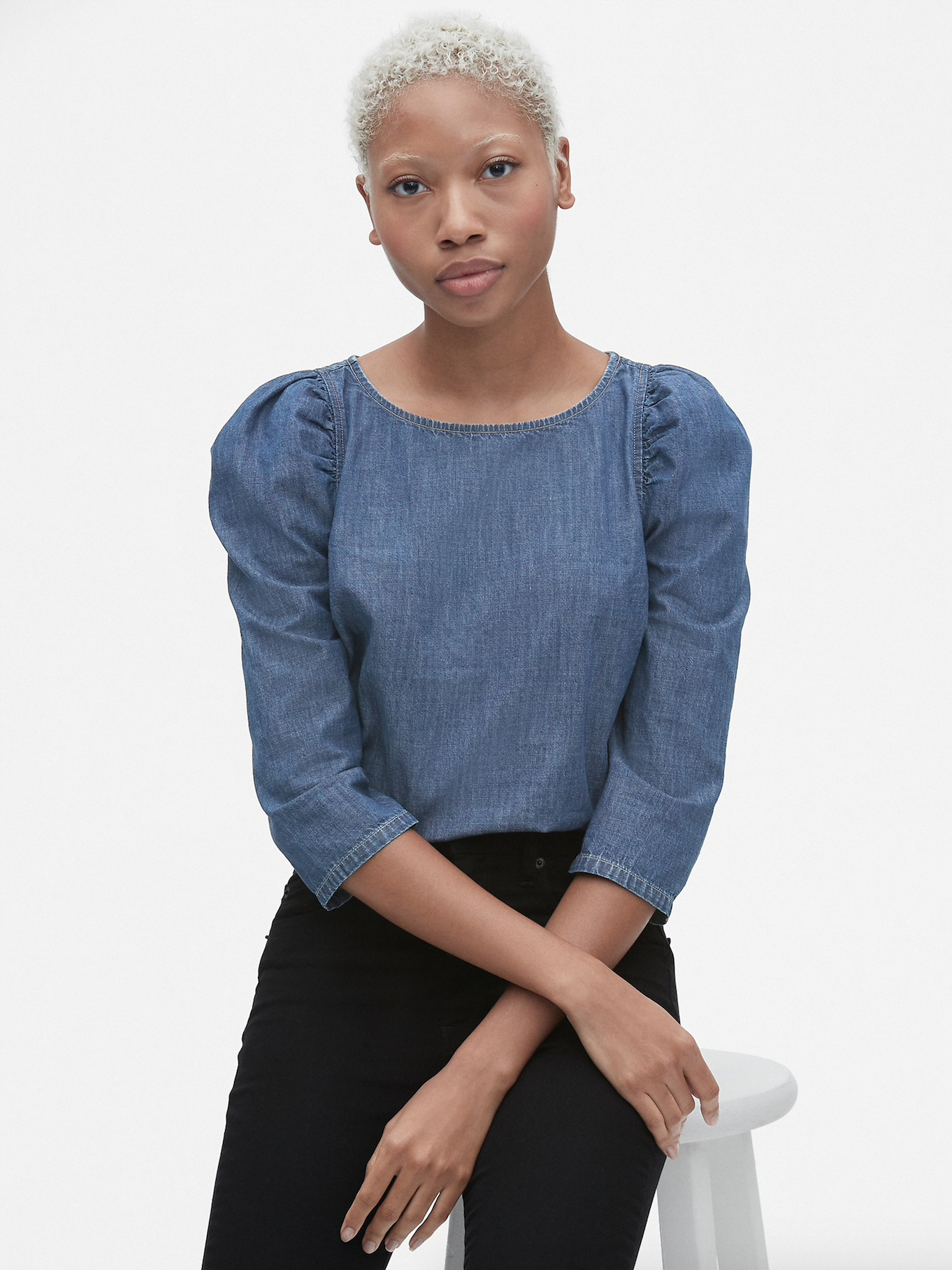 Denim Puff Sleeve Top