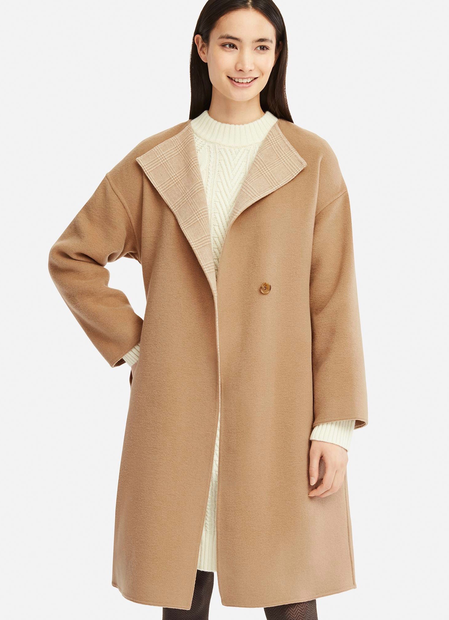 Double Face Collarless Camel Coat