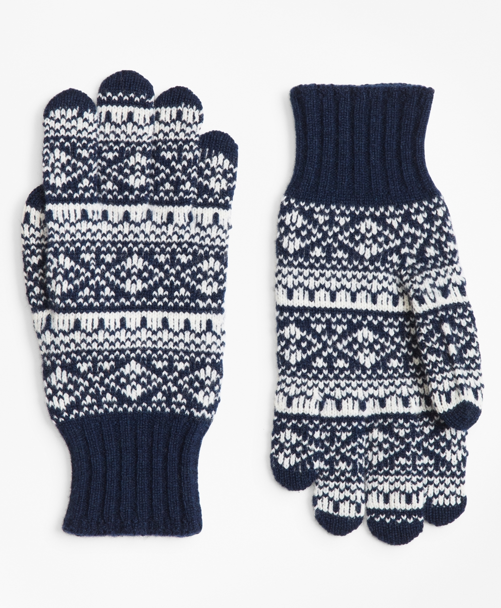 Men's Navy Blue Fair Isle Gloves