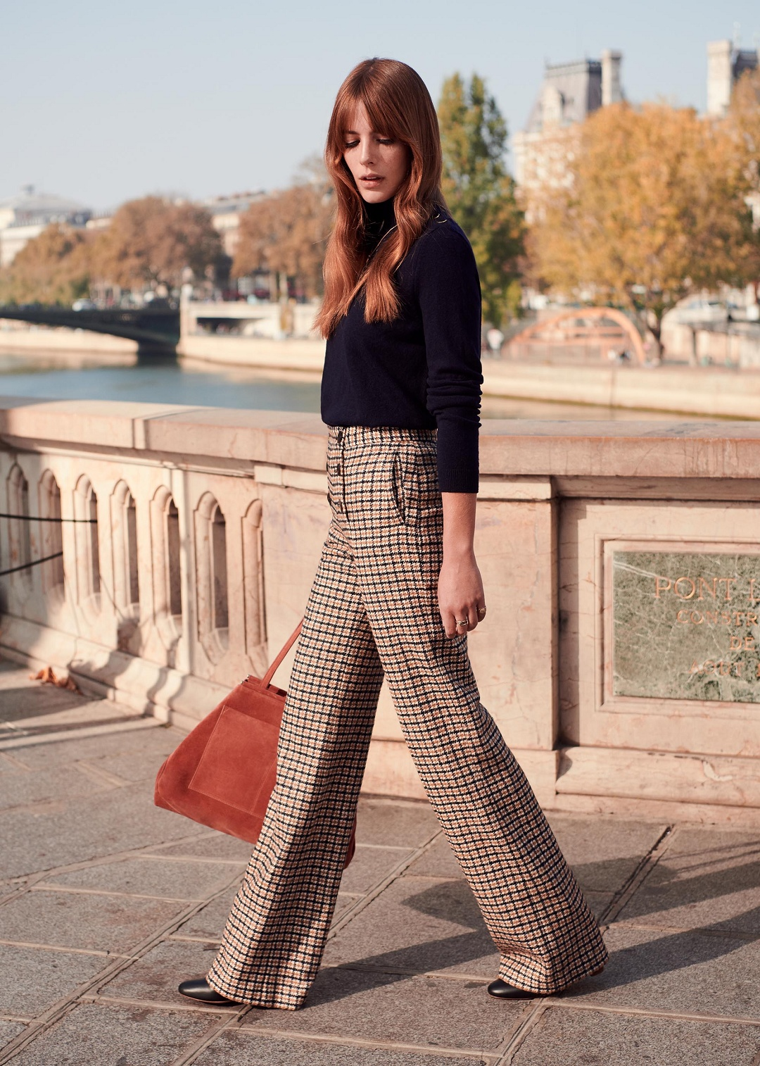 Navy Ochre Trousers