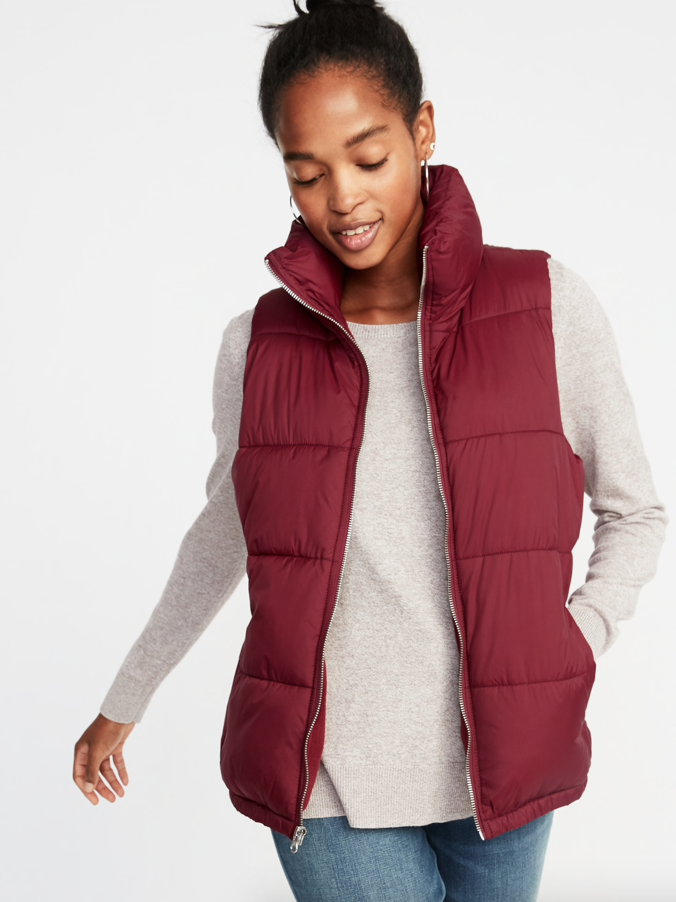 Red Fitted Puffer Vest