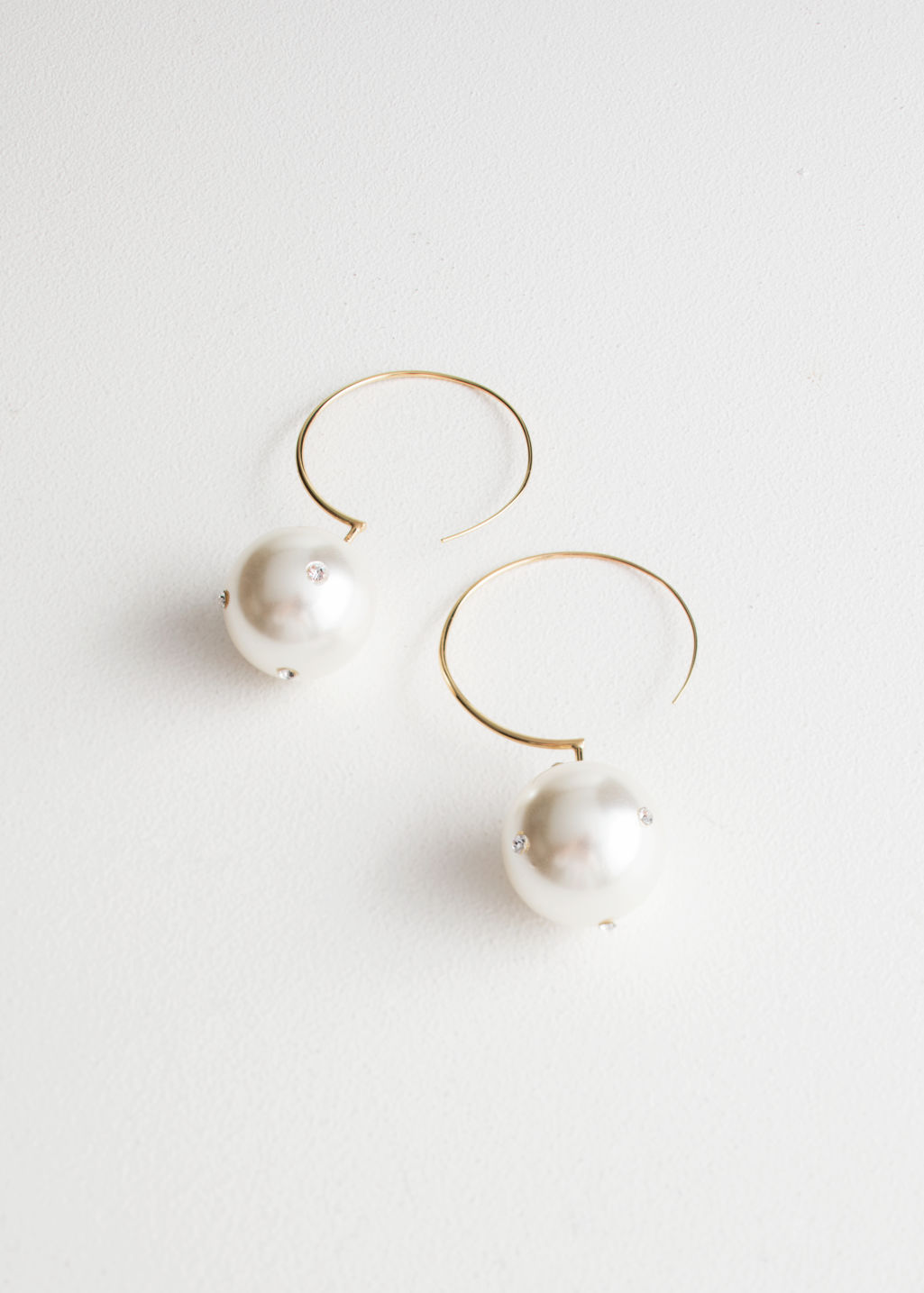 Jeweled Pearl Hoop Earrings