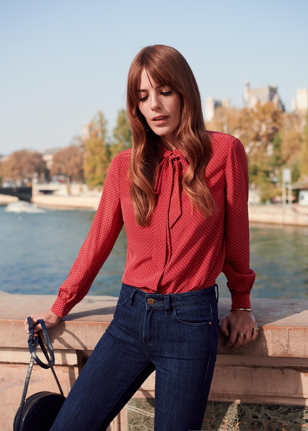 Red Long Sleeve Silk Shirt