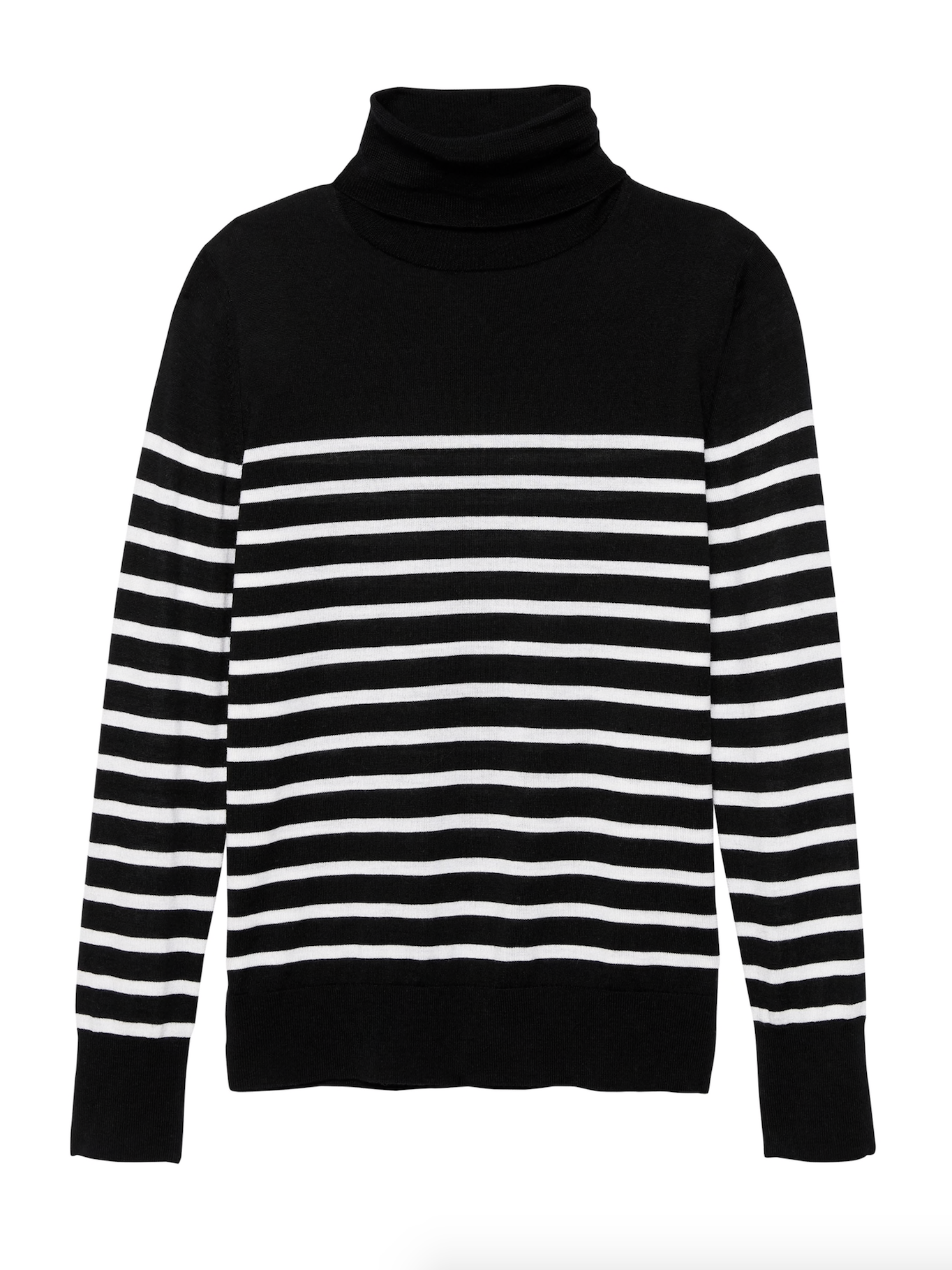 Merino Wool Stripe Turtleneck Sweater