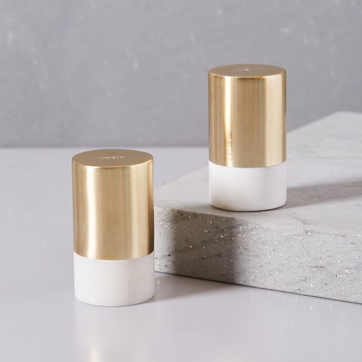Marble + Brass Salt and Pepper Shakers