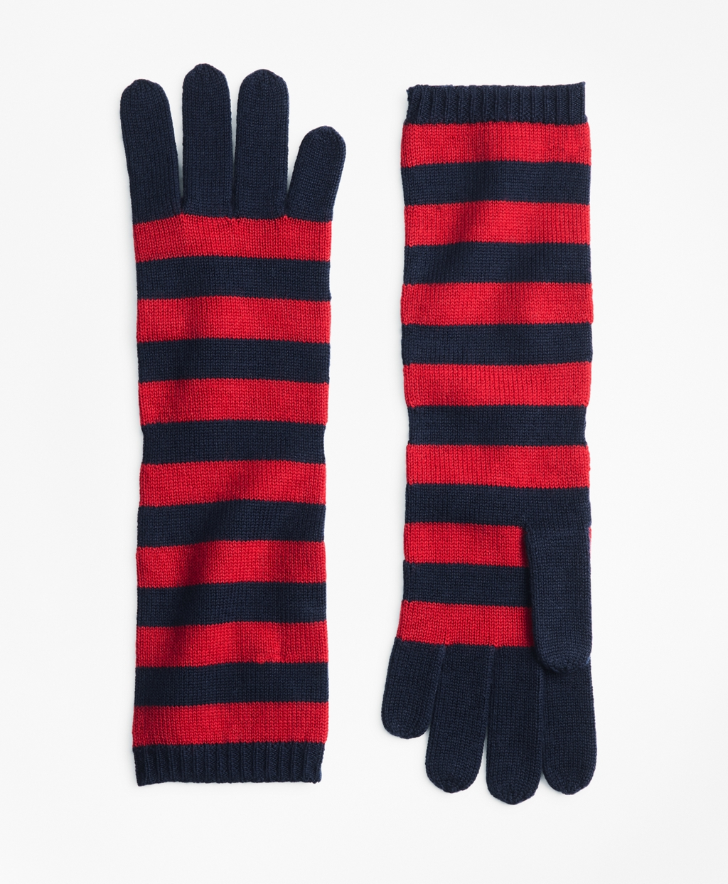 Striped Wool Elbow Length Gloves