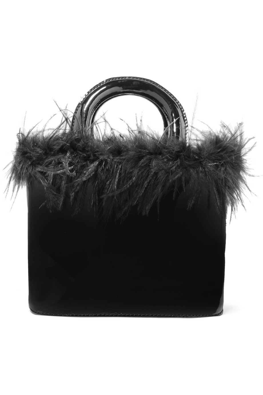 Feather Trimmed Leather Tote