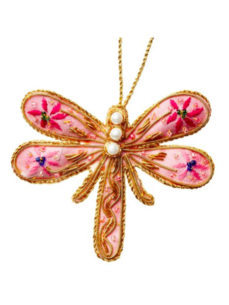 Pink Beaded Dragonfly Christmas Ornament