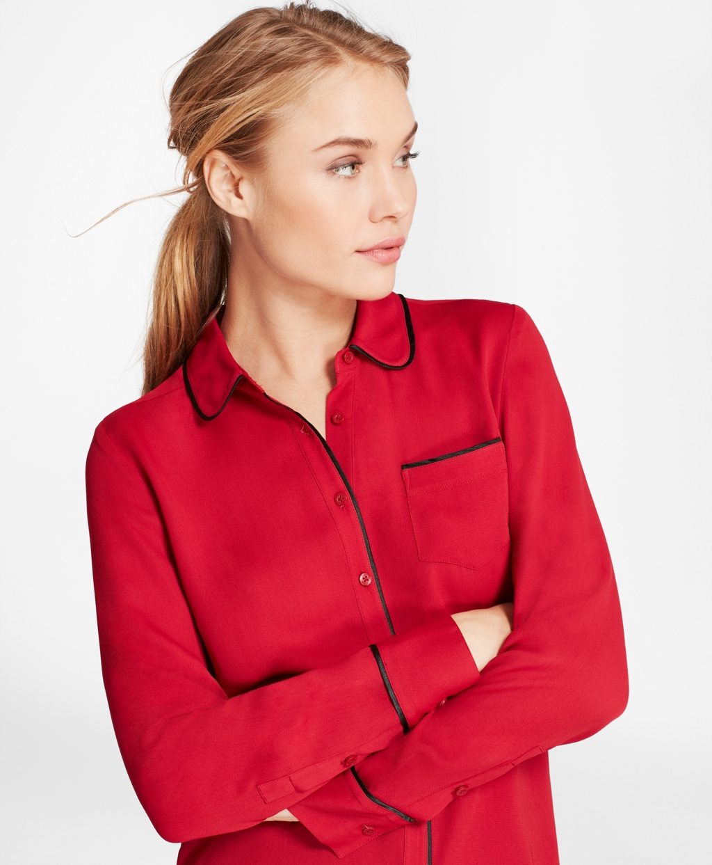 Piped Georgette Shirt