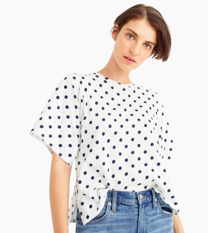 Polka Dot Tee Blue and White