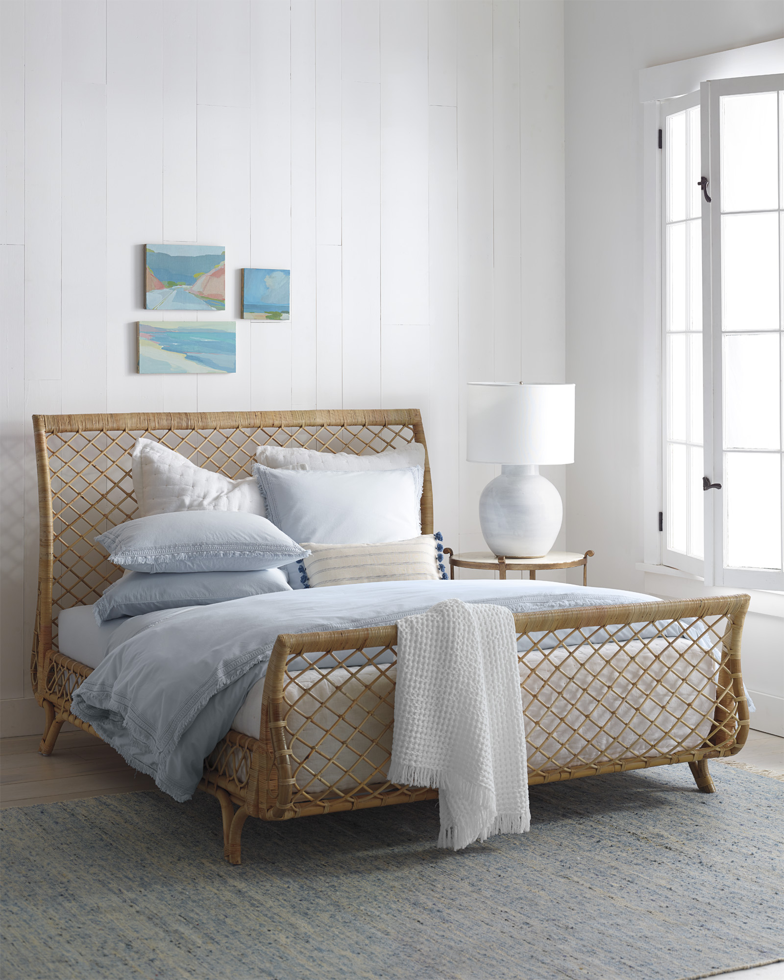 Rattan Sleigh Bed Avalon Serena Lily Beach House Style Bedroom
