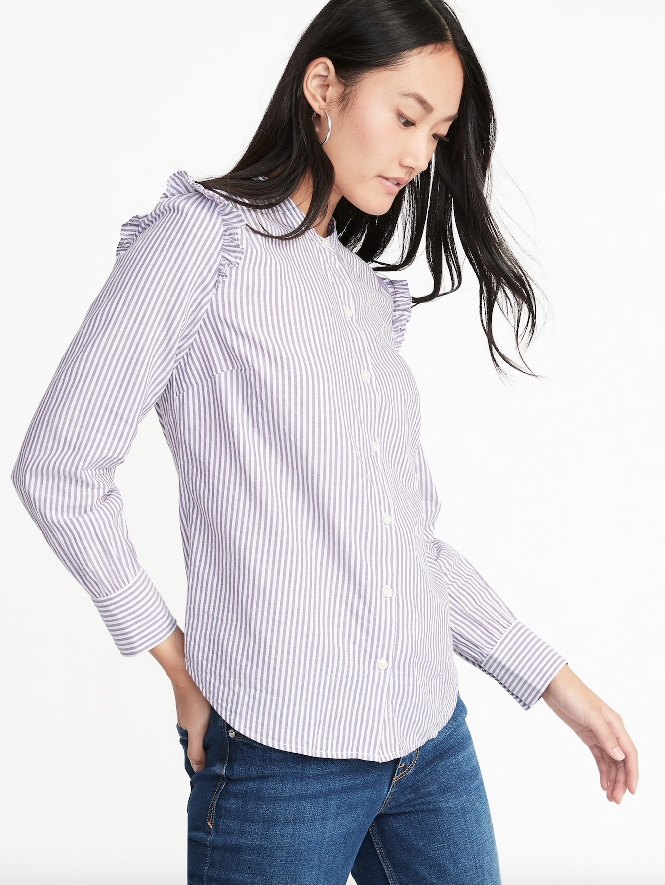 Purple Striped Ruffle Shirt