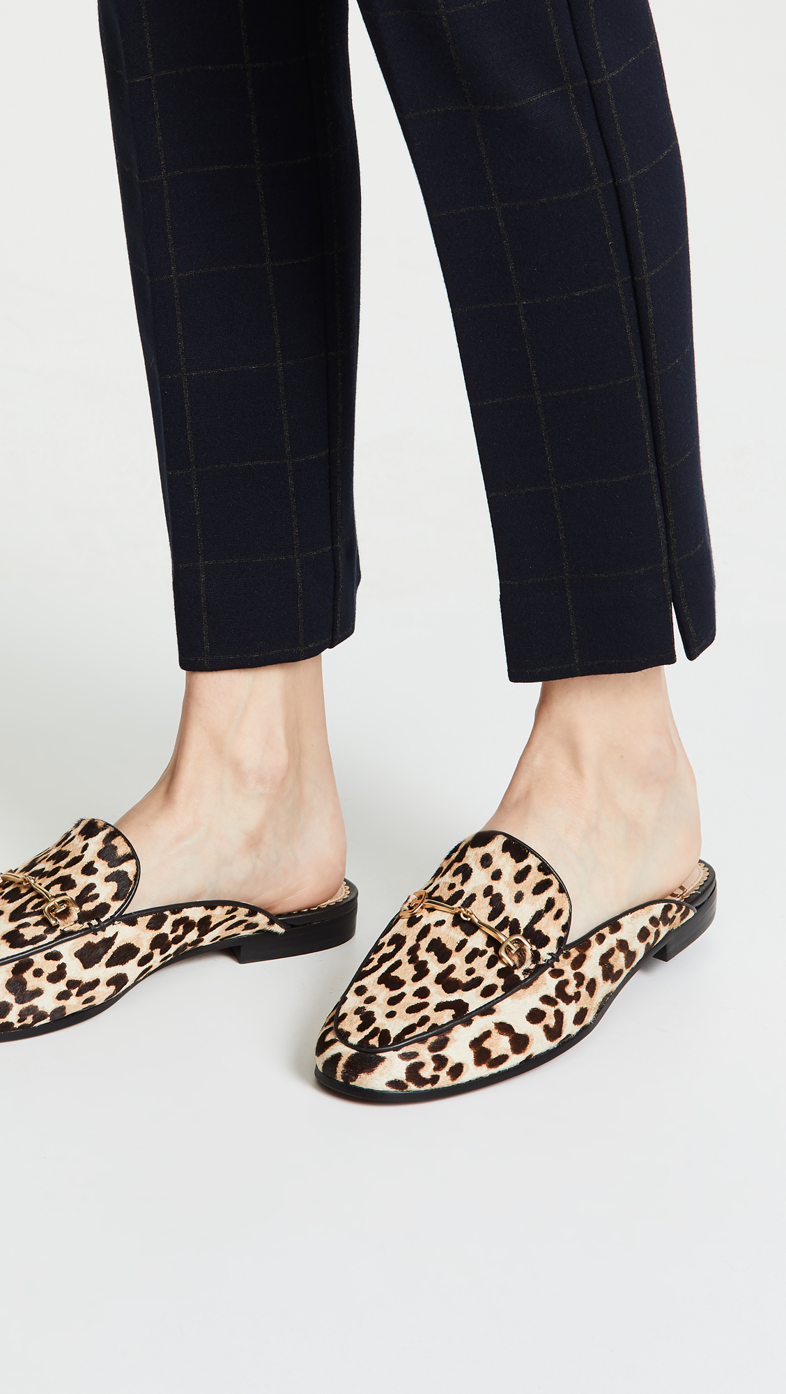 Leopard Print Mules with Gold Bar