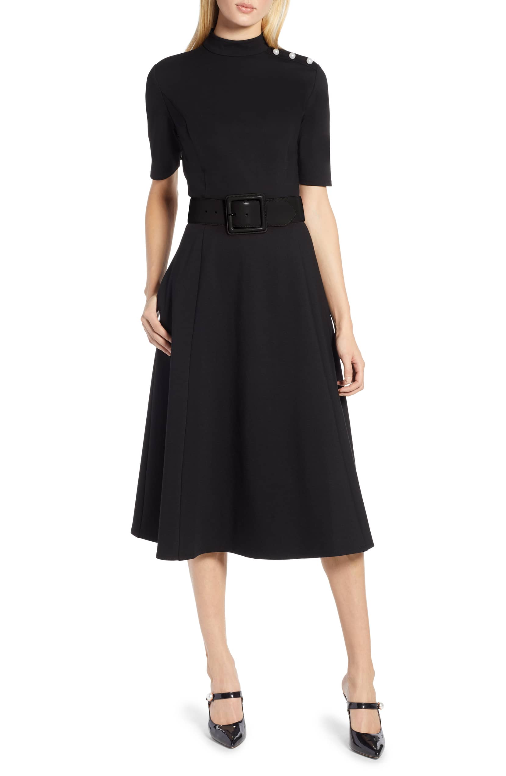 bb2dcf349 stretch-ponte-midi-dress-belted-waist-black - Katie Considers