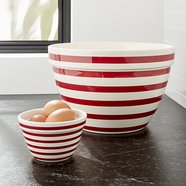 Red and White Striped Bowl