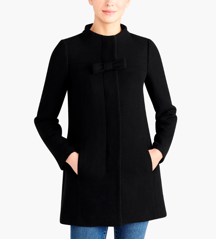 Black Bow Front Wool Coat