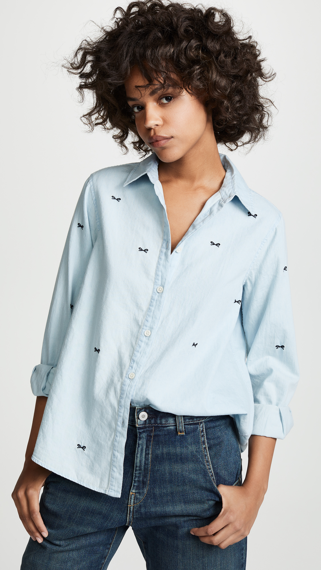 Bow Embroidered Chambray Shirt