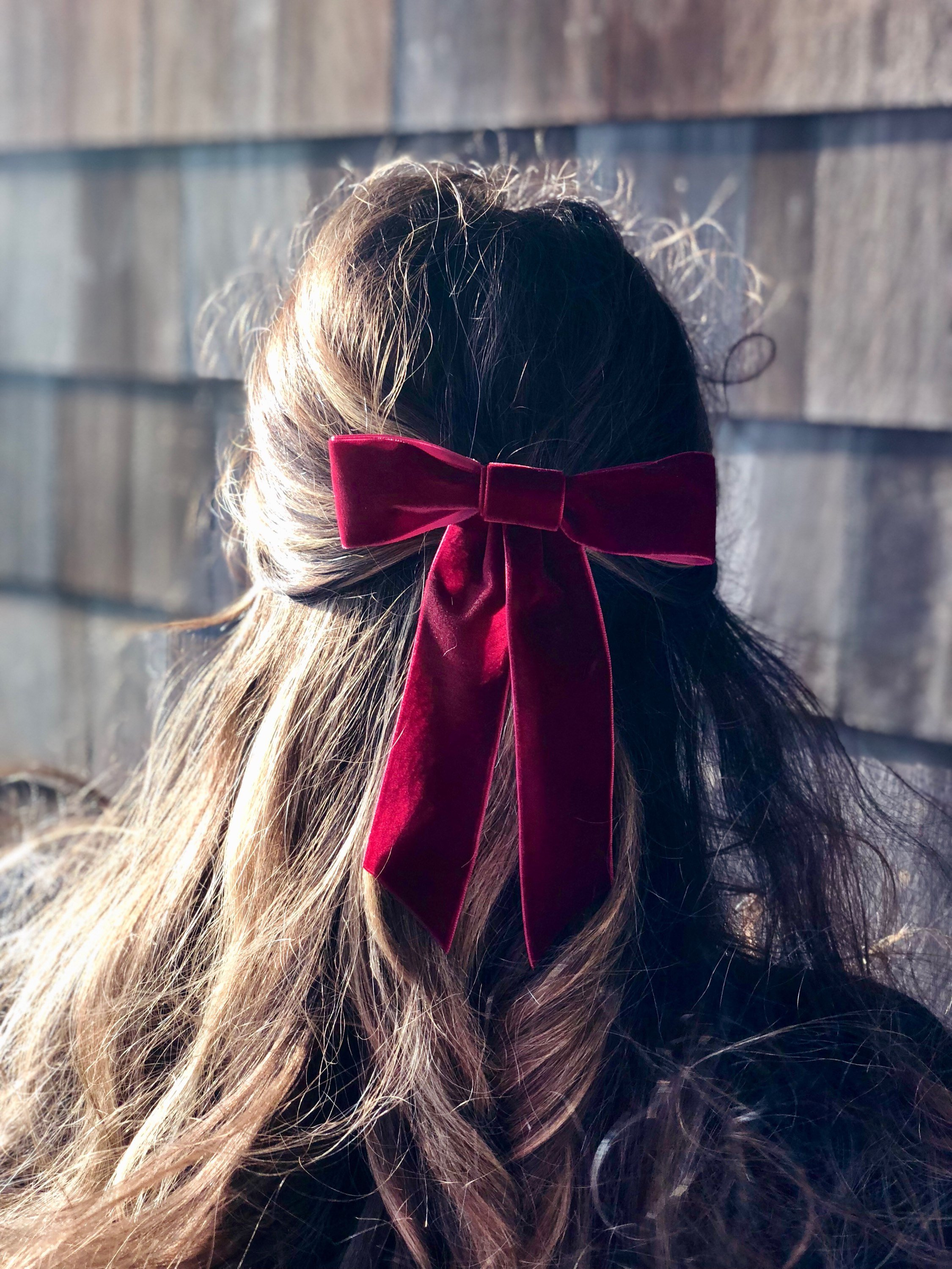 Burgundy Velvet Bow Hair Barrette