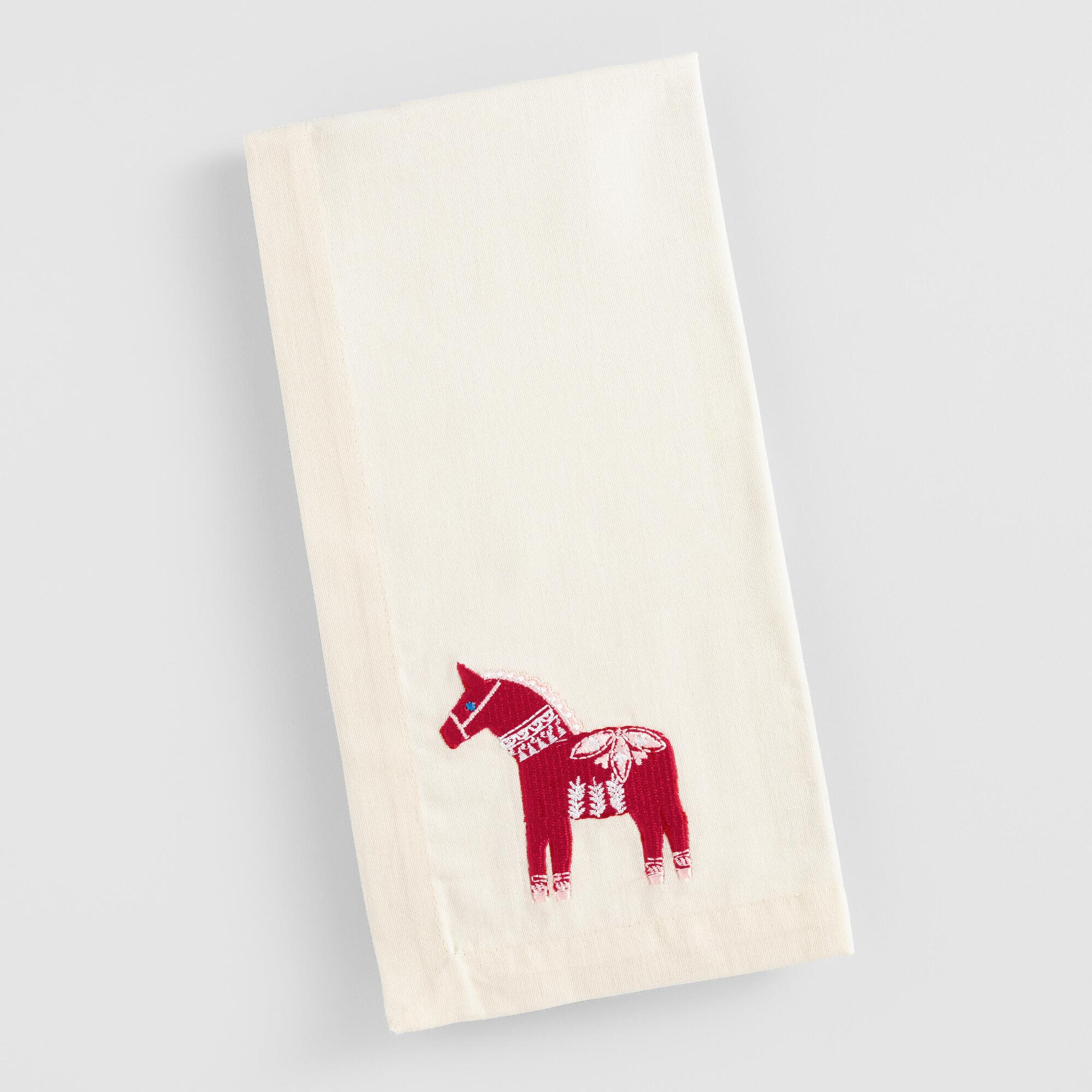 Embroidered Scandinavian Horse Napkins