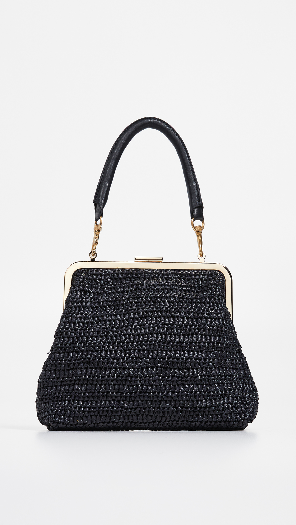 Black Woven Bag with Brass Hardware