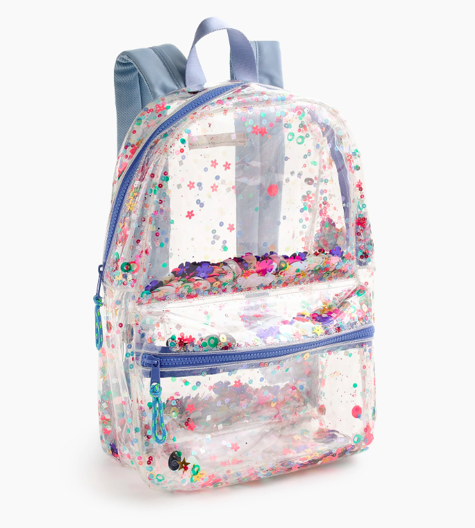 Girls' Clear Sequin Backpack