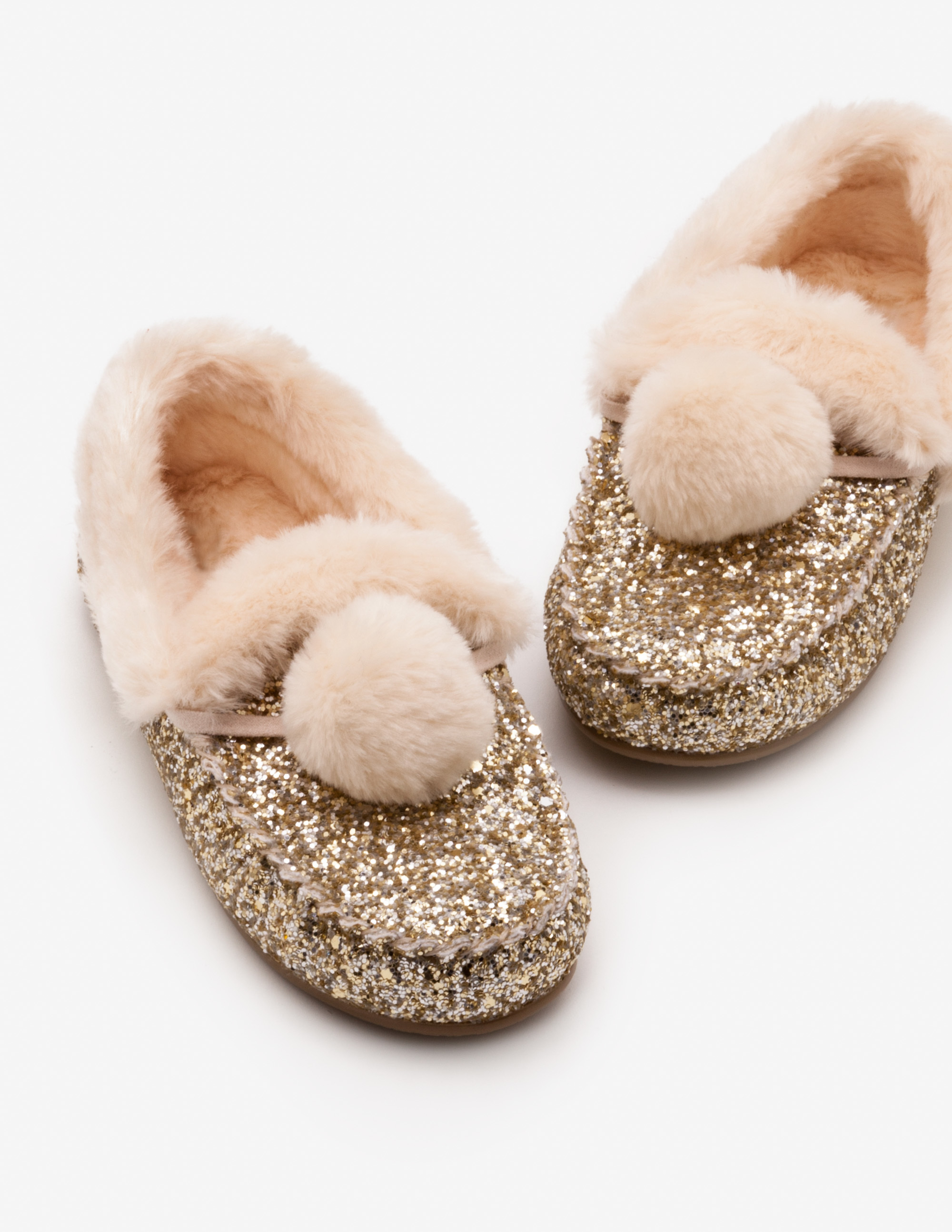 Glitter Slippers with Puff