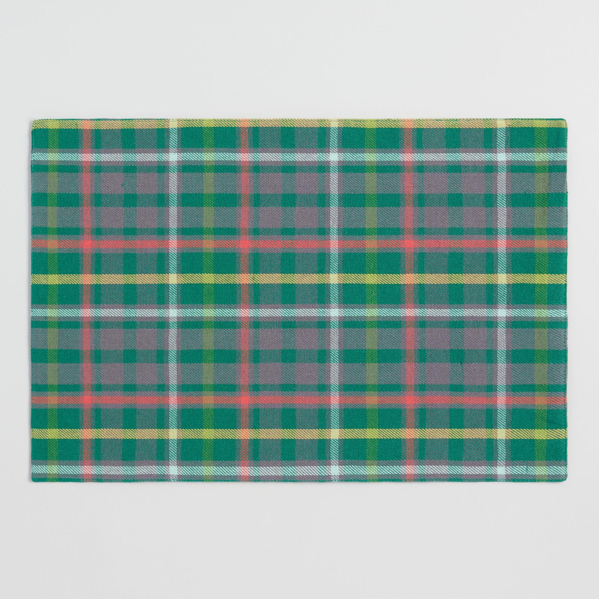 Green Holiday Plaid Placemats