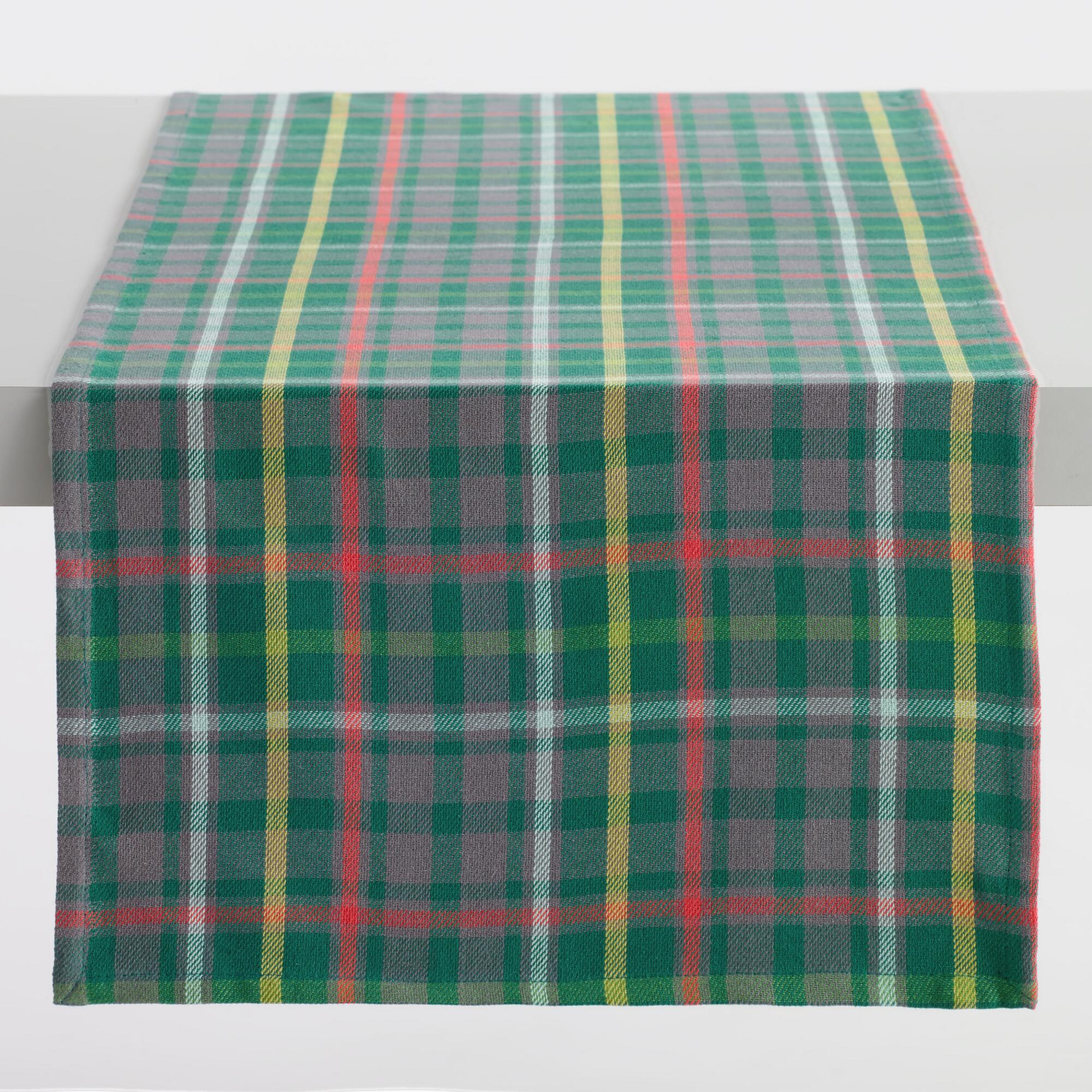 Green Holiday Plaid Table Runner