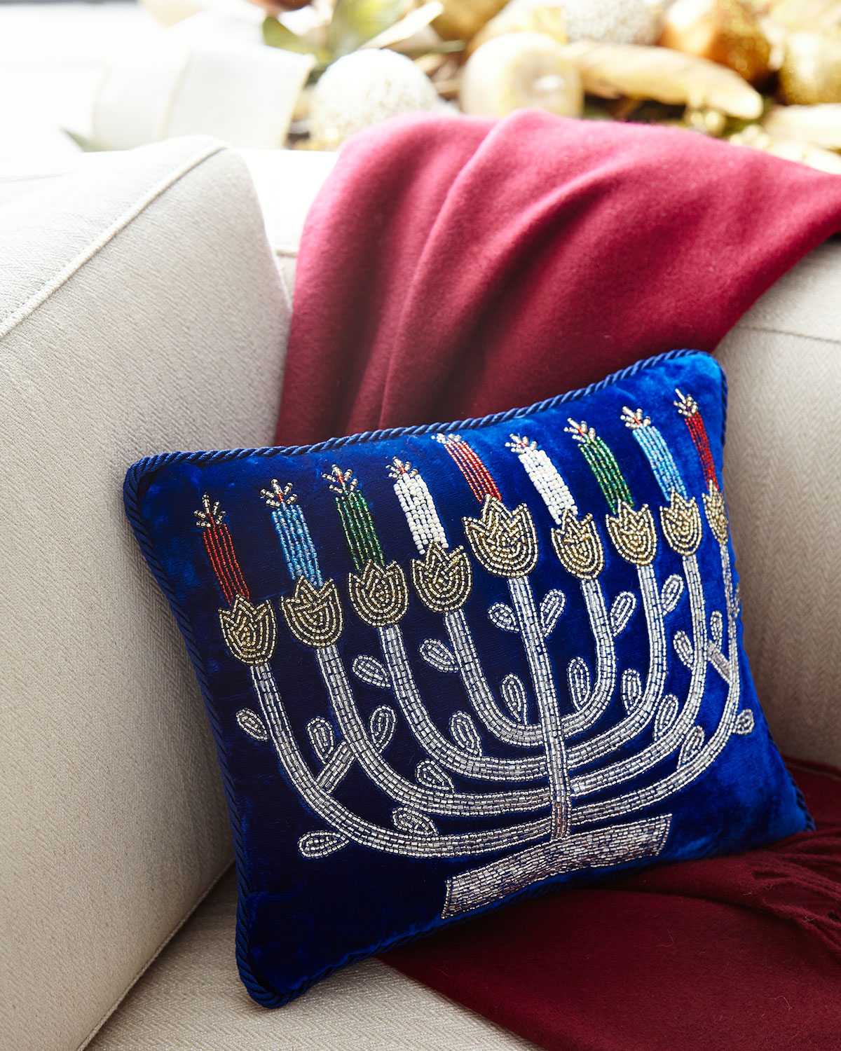 Menorah Embroidered Pillow