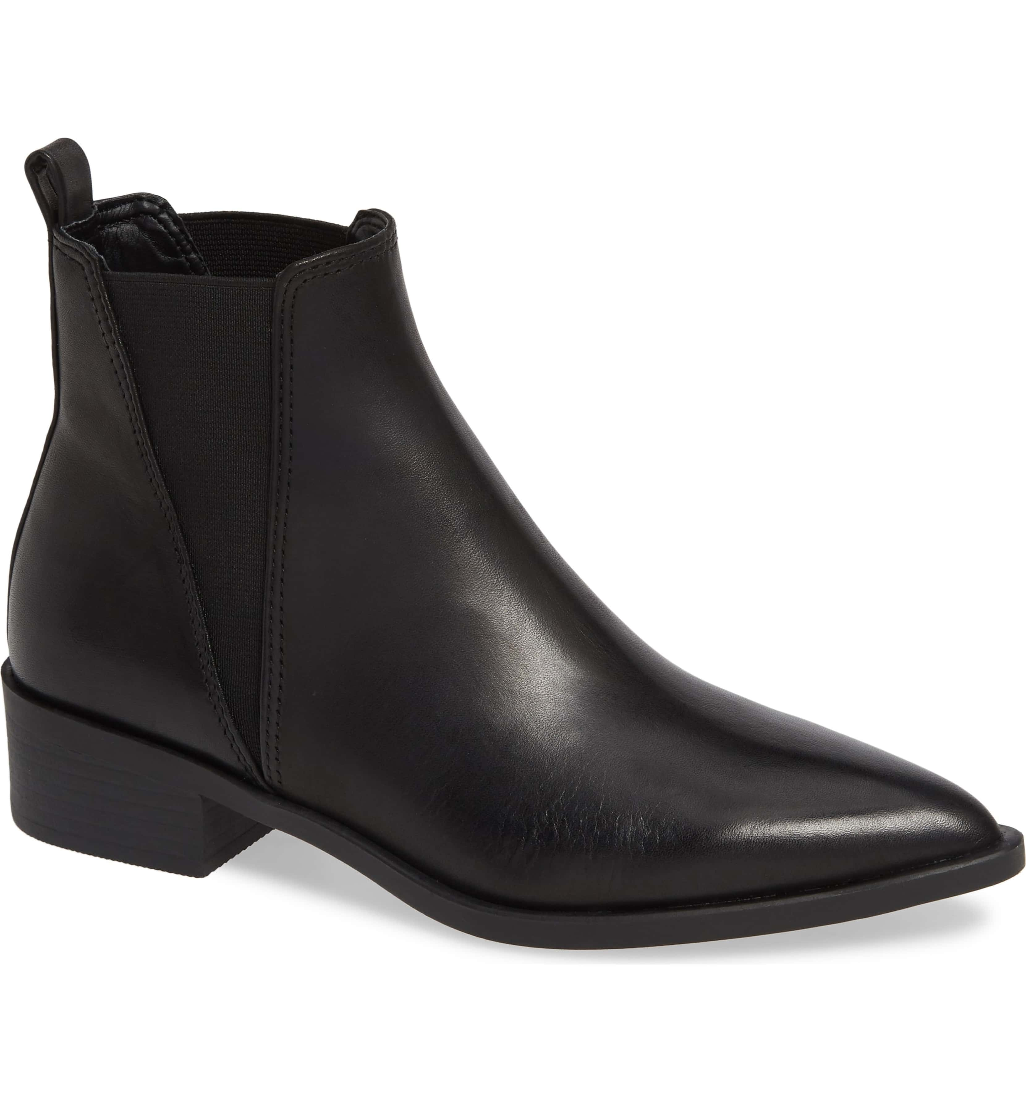 Pointed Toe Black Leather Boot